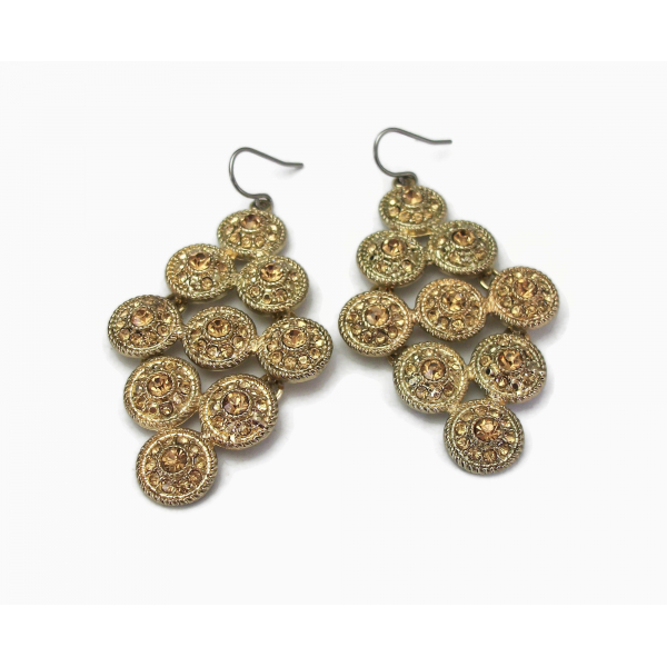 Vintage Monet Gold Tone and Topaz Rhinestone Dangle Earrings