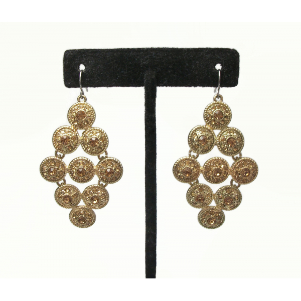 Vintage Monet Gold and Topaz Rhinestone Dangle Chandelier Earrings