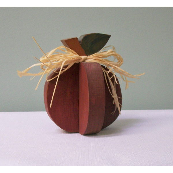 "Vintage Rustic Wood Pumpkin Autumn Decoration Fall Home Decor 5 1/2"" tall"