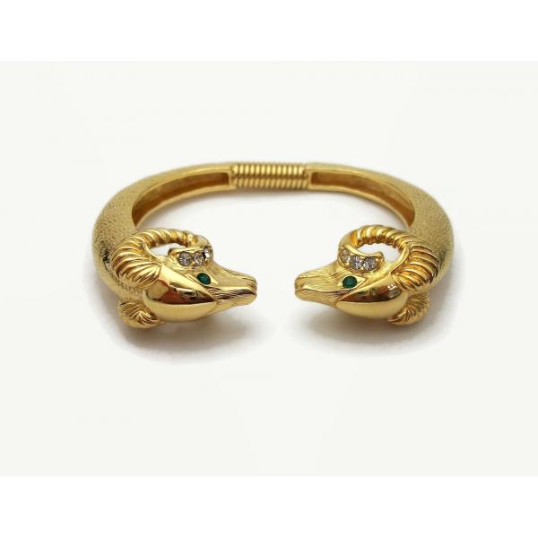 Gold Rams Heads Bracelet Kenneth Jay Lane KJL for Avon Size Small Women's Cuff