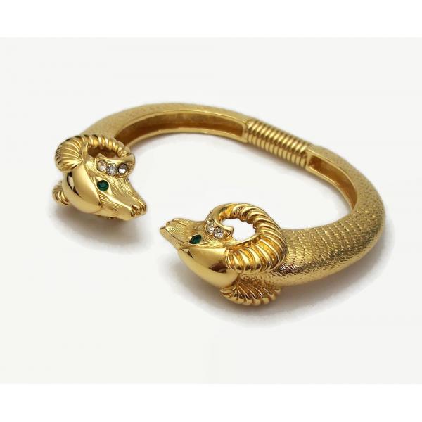 KJL for Avon Gold Hinged Bracelet for Women Kenneth Jay Lane Vintage 1980s
