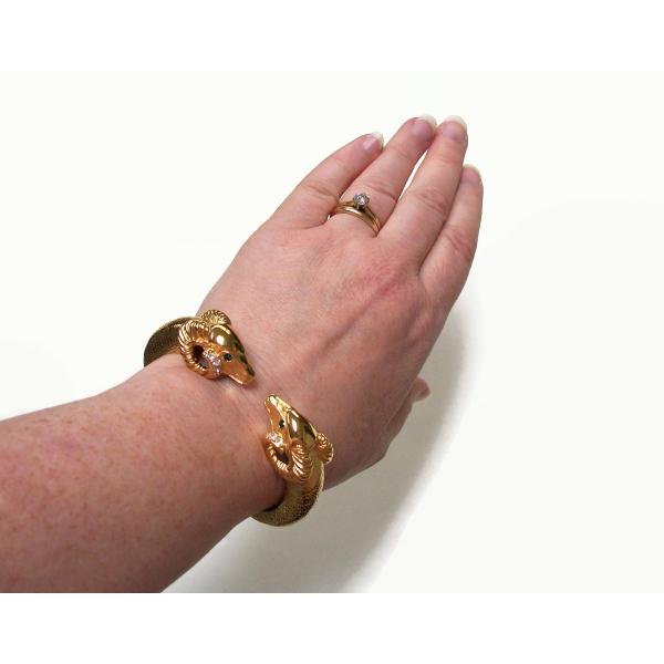 Signed Kenneth Jay Lane KJL Gold Ram Bracelet 1987 Sophisticated Lady Collection
