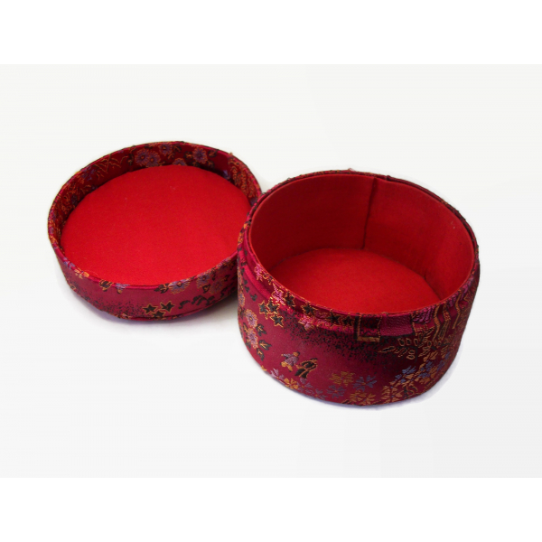 Vintage Red Jacquard Fabric Trinket Box Round Asian Themed