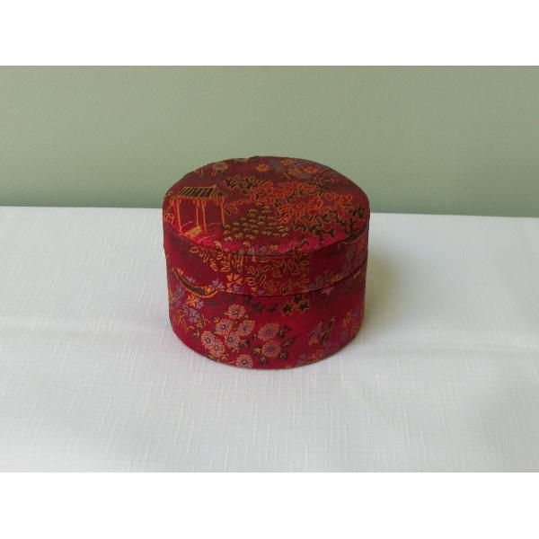 Vintage Red Jacquard Fabric Trinket Box Round Asian Theme Motif