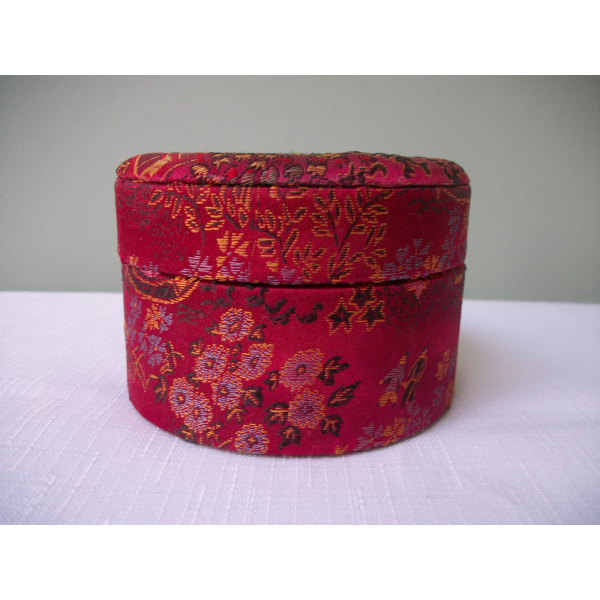 Vintage Asian Red Jacquard Fabric Trinket Box Round