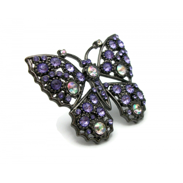 Purple Rhinestone Butterfly Brooch Pin Gunmetal with AB Aurora Borealis Accents