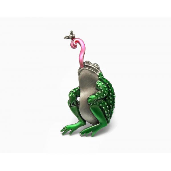 Vintage J.J. Jonette Frog Brooch Lapel Pin Pewter Green Enamel