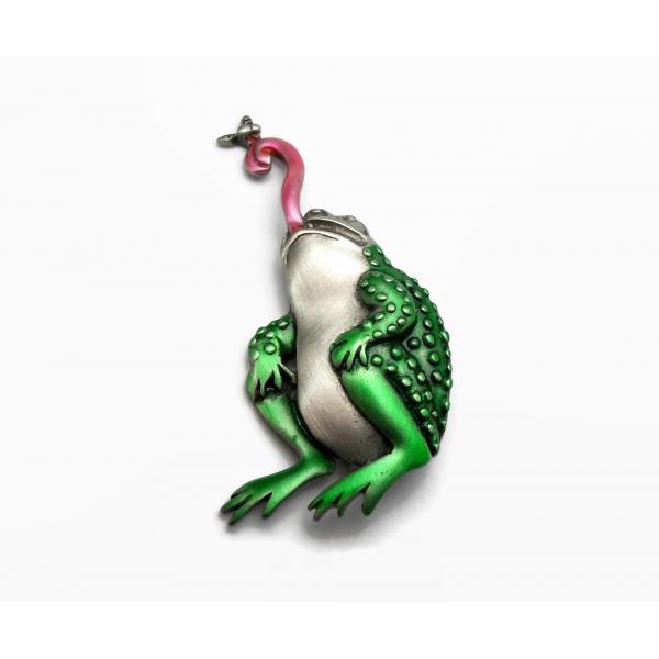 Vintage JJ Jonette Frog Brooch Lapel Pin Pewter Green Enamel