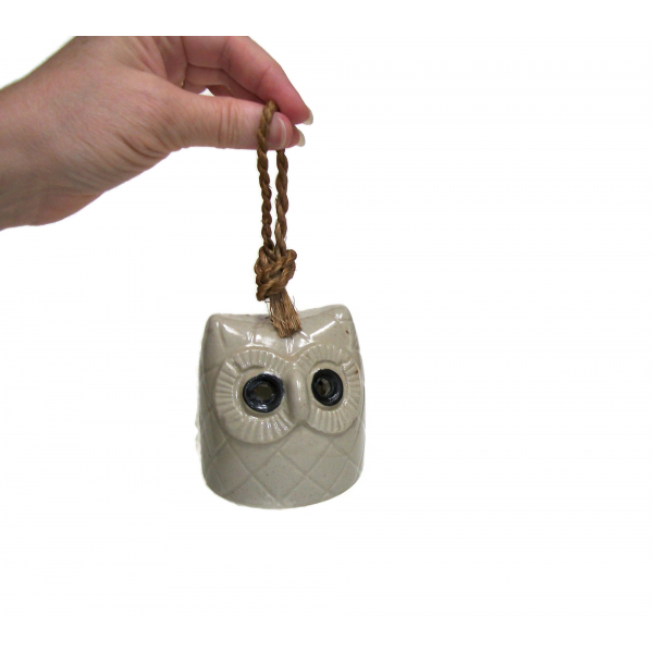 Vintage Ceramic Pottery Owl Bell Owl Shaped Sculpture Bell