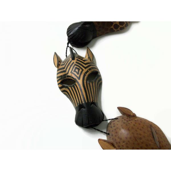 African Animal Mask Hand Carved Wood Cheetah Zebra Giraffe Elephant Wall Art