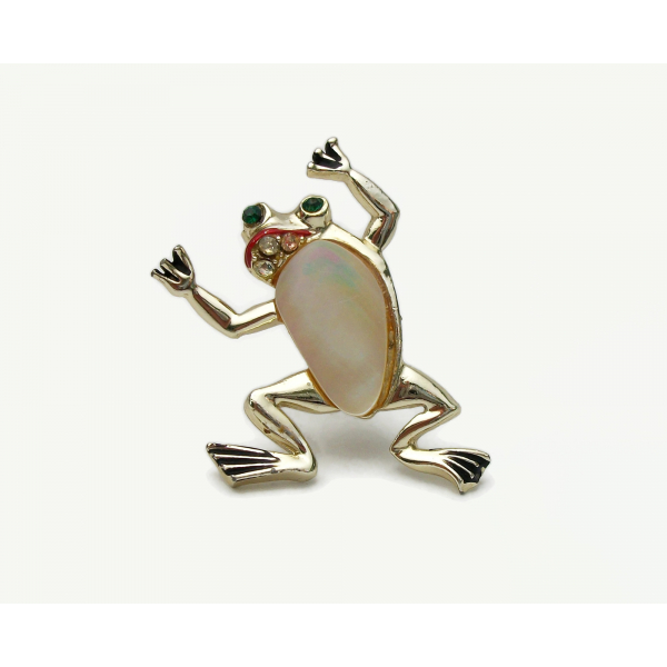 Vintage Mother of Pearl Frog Brooch Lapel Pin Gold with Rhinestone Accents