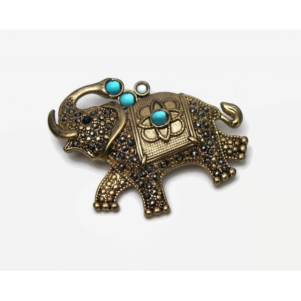 Vintage Genuine Marcasite Elephant Brooch Gold Signed FAF Elephant Pin