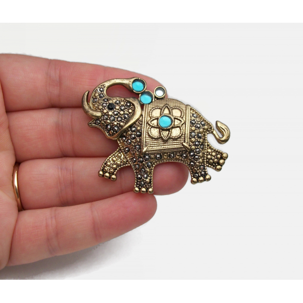 Vintage Genuine Marcasite Elephant Brooch Lapel Pin Gold Signed FAF Jewelry