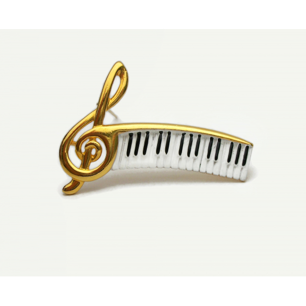 Vintage Treble Clef Brooch Pin with Piano Keys Keyboard Music Theme