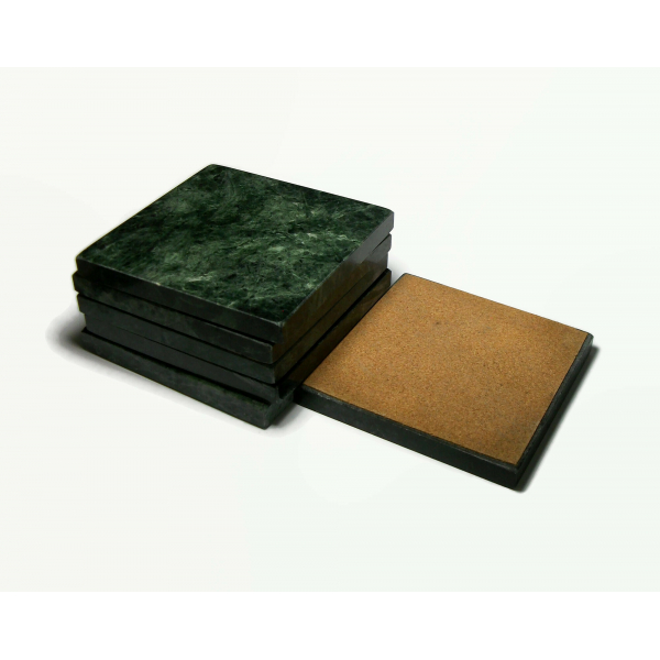 Vintage Green Marble Coaster Set of Six 6 Square Coasters with Cork Back 3.75″