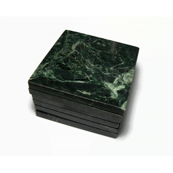 Vintage Green Marble Coaster Set of 6 Square Coasters Thick with Cork Back 3.75″