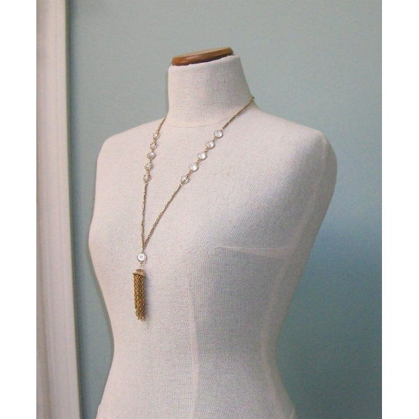 Vintage Long Open Bezel Crystal Tassel Pendant Necklace Gold Bar Chain