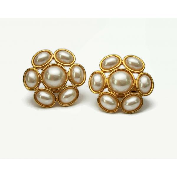 Vintage Napier Pearl Cabochon Floral Clip on Earrings Gold Adjustable Screws