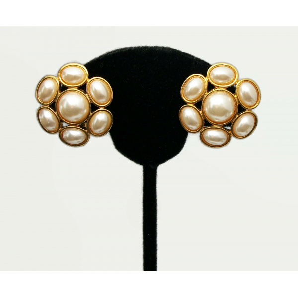 Vintage Napier Pearl Cabochon Clip on Earrings Gold Adjustable Screws Floral