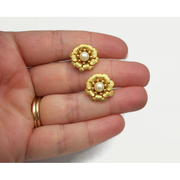 Crown Trifari Earrings Gold Clip on Floral Flower Earrings with Pearls
