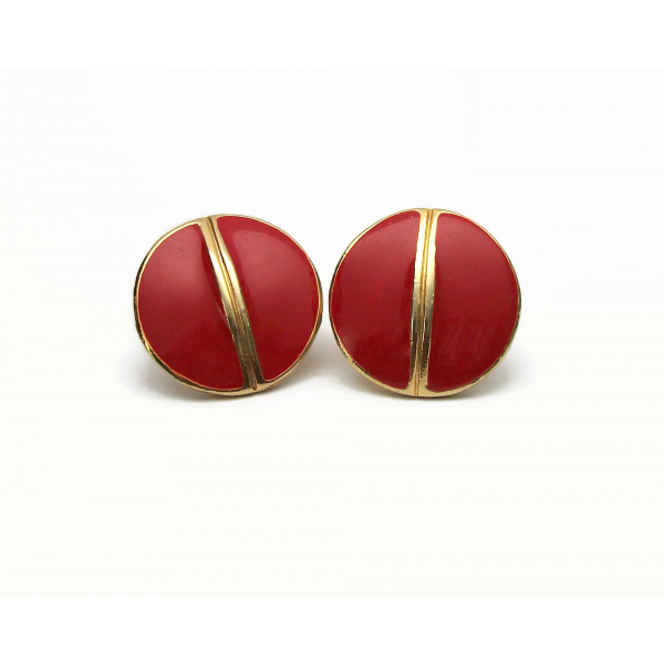 Vintage Red Clip on Earrings Round Red Enamel and Gold