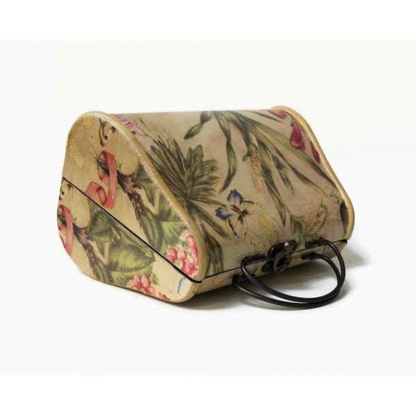 Floral Decoupage Wooden Purse Handbag Novelty Wood Box