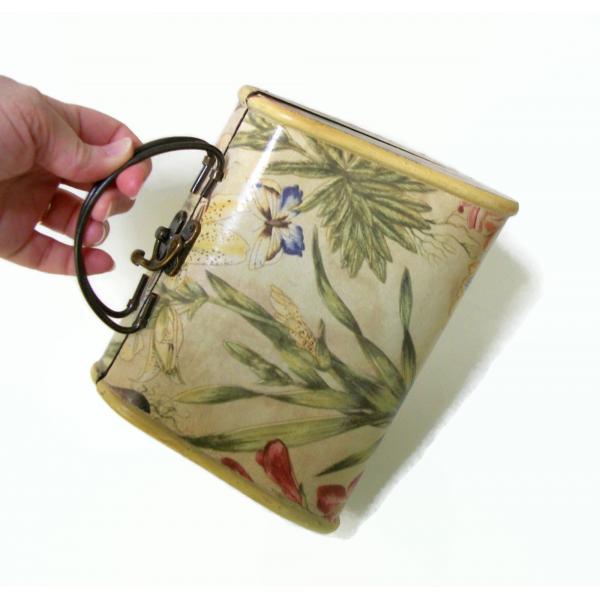 Vintage Decoupage Wood Purse Handbag Floral Design Pear Shaped Novelty Purse Box