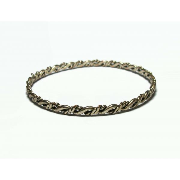 "Vintage Wavy Silver Tone Bangle Bracelet Thin Large 8 1/2"" Bangle Women's Men's"