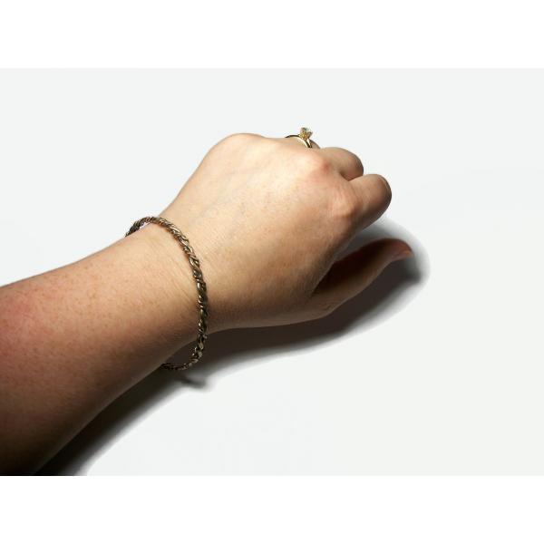 """Vintage Wavy Silver Tone Bangle Bracelet Thin Large 8 1/2"""" Bangle Unisex Bangle"""