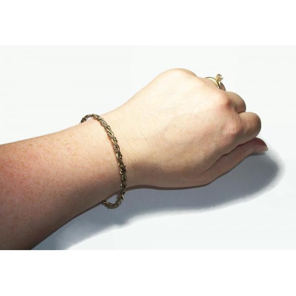 """Vintage Wavy Silver Tone Bangle Bracelet Thin Large 8 1/2"""" Bangle Women's Bangle"""