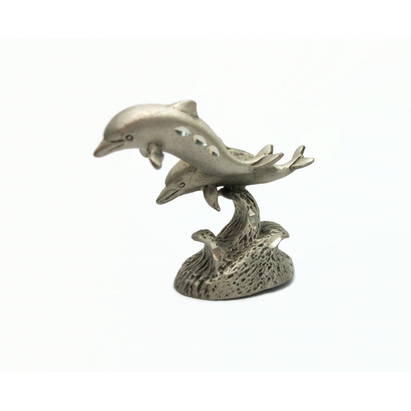 Vintage Cuter Pewter Diamond Cut Dolphins Figurine Collectible Metal Dolphin