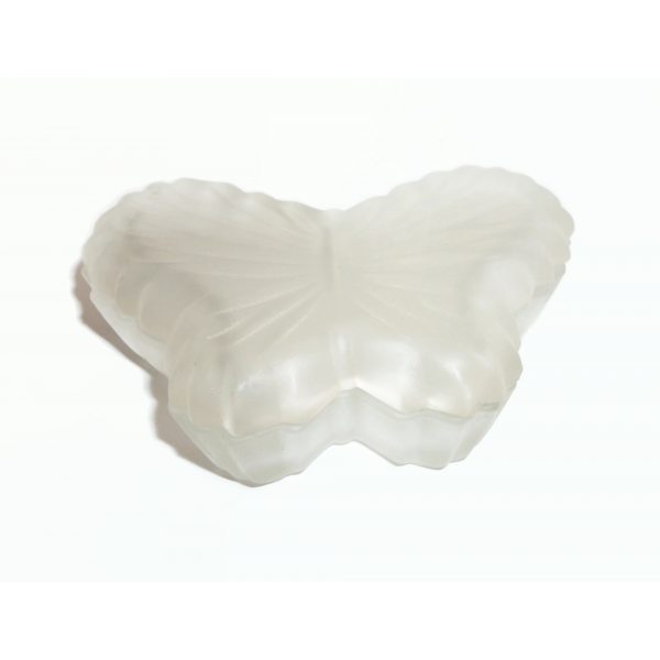 Vintage Butterfly Shaped Frosted Glass Trinket Box Trinket Dish Made in Taiwan