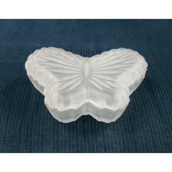 Vintage Frosted Glass Butterfly Shaped Trinket Box Trinket Dish Made in Taiwan