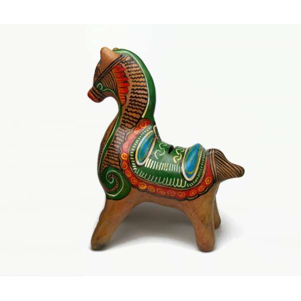 Vintage Tonala Mexican Pottery Horse Shaped Piggy Bank Hand Painted Clay Animal
