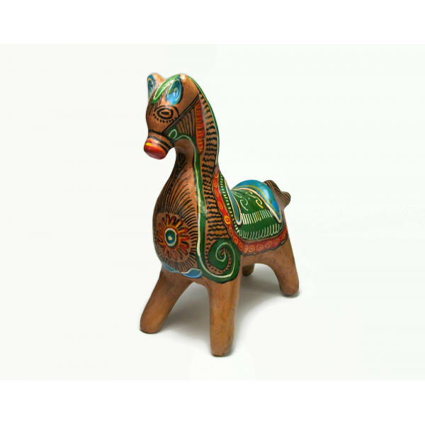 Vintage Tonala Mexican Clay Pottery Horse Shaped Piggy Bank Hand Painted Animal