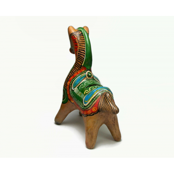 Vintage Tonala Mexican Pottery Piggy Bank Hand Painted Clay Horse