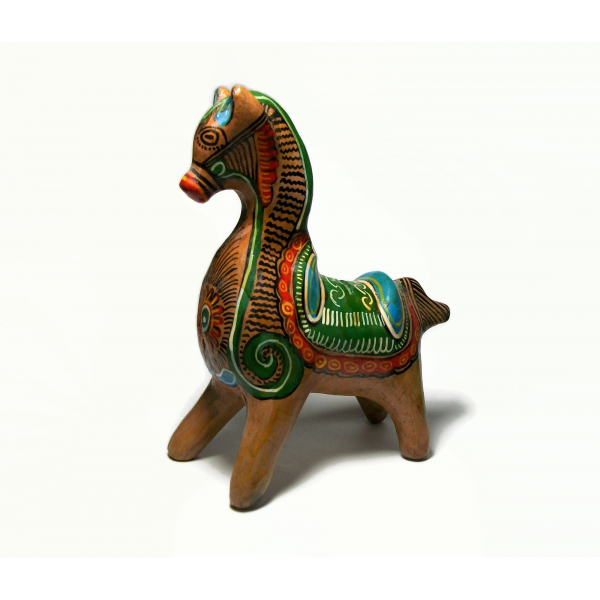 Vintage Tonala Mexican Pottery Clay Horse Piggy Bank Hand Painted in Mexico