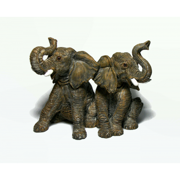 Vintage Elephant Sculpture Resin Pair of Baby Elephants Figurine Paperweight