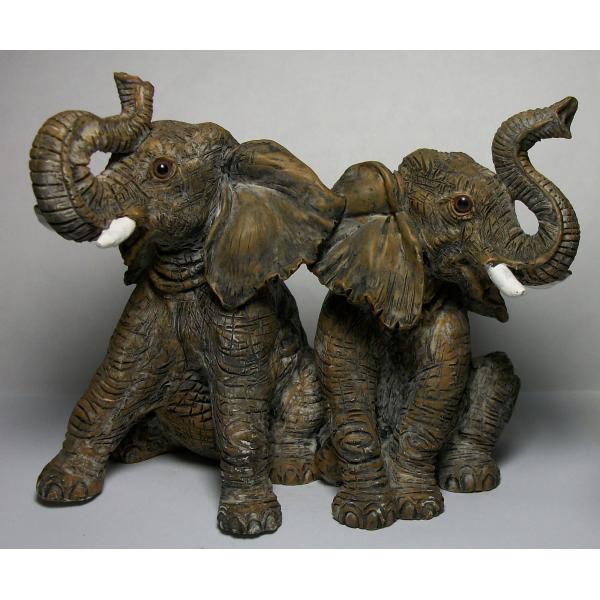 Vintage Elephant Sculpture Resin Pair of Baby Elephants Figurine Heavy Figurine