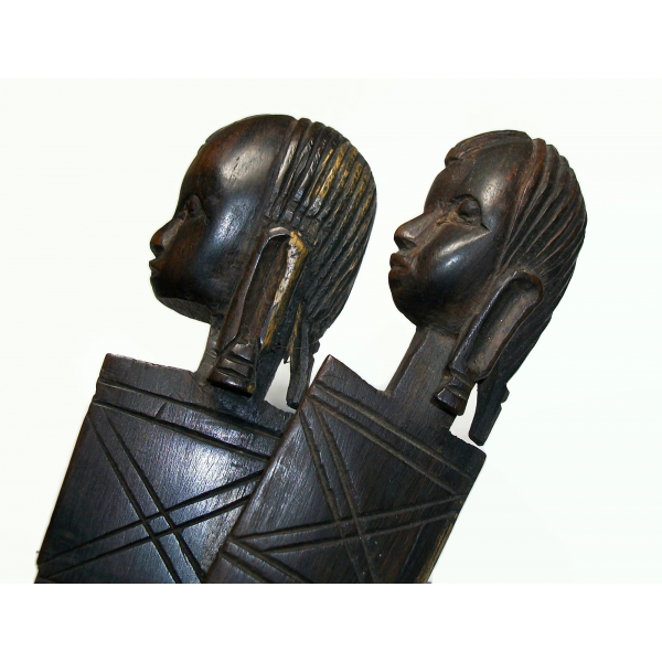 Vintage Pair of African Wood Letter Openers Africa Folk Art Hand Carved Ebony