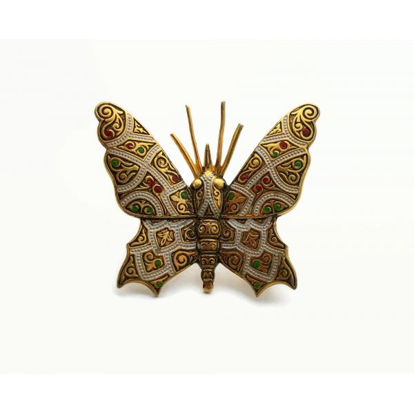 Vintage Faux Damascene Butterfly Brooch Lapel Pin Made in Spain