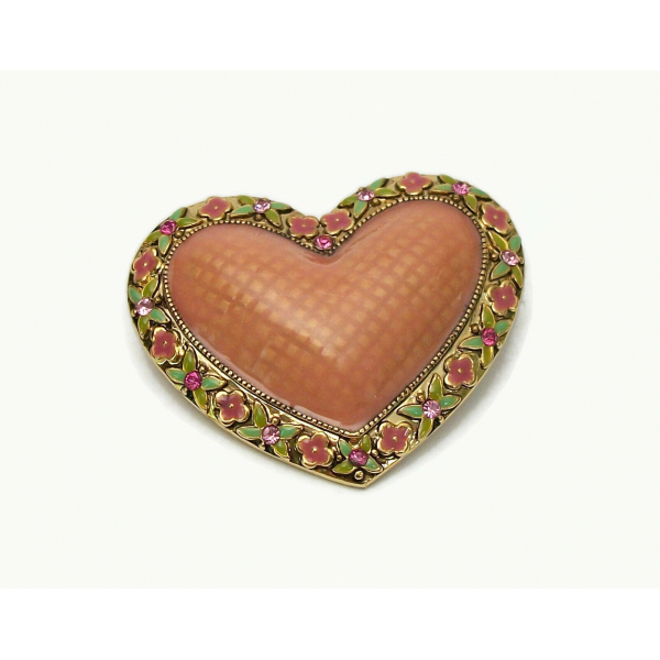Vintage Puffy Enamel Heart Shaped Brooch Lapel Pin Gold Floral Salmon Pink Green