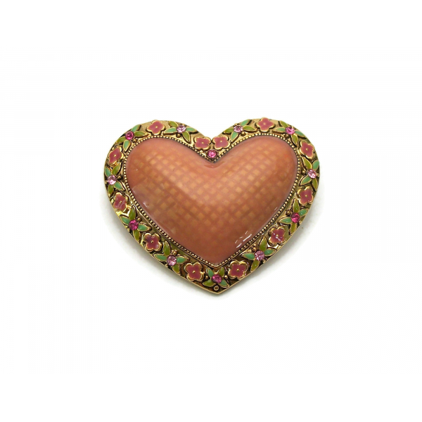 Vintage Puffy Enamel Heart Shaped Brooch Lapel Pin Gold Floral Pink and Green