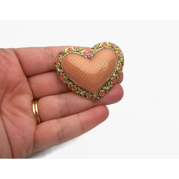Vintage Puffy Enamel Heart Shaped Brooch Lapel Pin Gold Floral Salmon Pink
