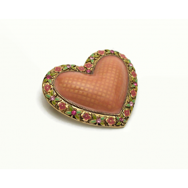 Vintage Puffy Enamel Heart Shaped Brooch Lapel Pin Gold Floral Pink and G