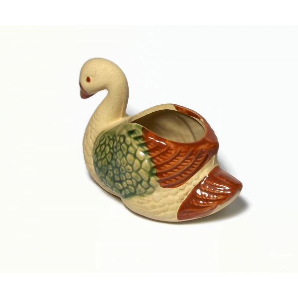 "Vintage Clay Ceramic Swan Planter 4.5"" long Pottery Bird Succulent Planter"