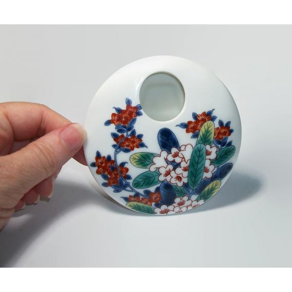 Vintage Small Flat Round Disc Shaped Ceramic Bud Vase Tokyo National Museum