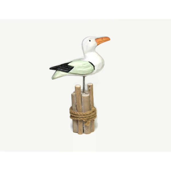 Vintage Carved Wood Seagull Figurine Hand Painted Beach House Cottage Decor