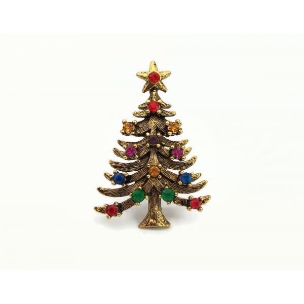 Vintage Eisenberg ICE Christmas Tree Brooch Pin Gold Multicolor Rhinestones