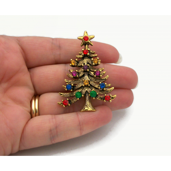 Vintage Signed Eisenberg ICE Christmas Tree Brooch Pin Gold Multicolor Crystals